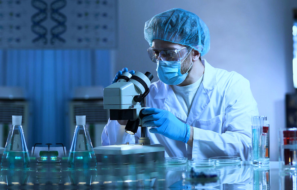 chemist experimenting inside a laboratory